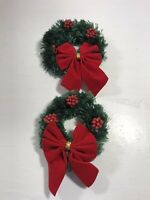 Christmas Tree Ornament Set of 2 Holly Wreath Bow Green Red Knit Holiday Display