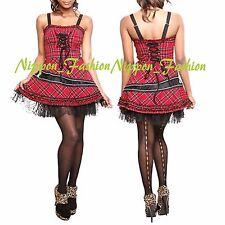 HELL BUNNY Hot topic Cobweb Lace Tie up Lenoir Red Plaid Tartan Punk Goth Dress