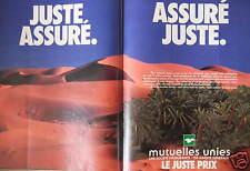 PUBLICITÉ MUTUELLES UNIES LE JUSTE PRIX ASSURÉ JUSTE