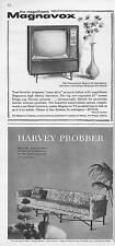 "1960 Magnavox 23"" HiFi TV & 1960 Harvey Probber sofa 2 great detailed PRINT ADs"