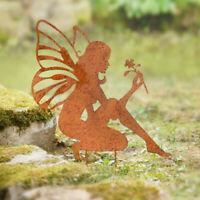 Gartenstecker Metall Rost Feen Figur Gartendeko Edelrost Dekoration Gartendeko