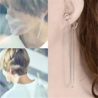 2PCS KPOP BTS V Earrings Bangtan Boys V Stud Doulbe Ring Chain Earrings Cool
