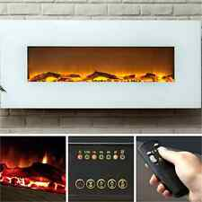 """White Electric Fireplace 50"""" Wall Mount Timer Remote LED Adjustable Flame & Heat"""