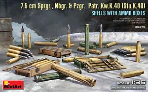 7.5 cm Sprgr., Nbgr. & Pzgr. Patr. Kw.K.40 (Stu.K.40) Shells 1/35 MiniArt  35375