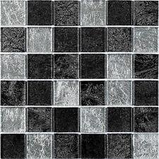 1m2 BLACK SILVER LEAF MIX GLASS MOSAIC 30 X 30CM G30068