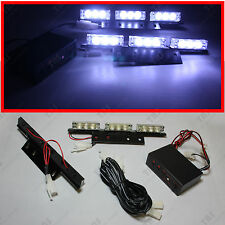 White 18-LED Emergency Vehicle Strobe Lights Deck Dash Grille Lightbars Flashers