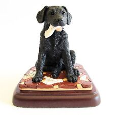 "Black Labrador Pup ""What News?"" Dog Figurine on Base - Border Fine Arts"