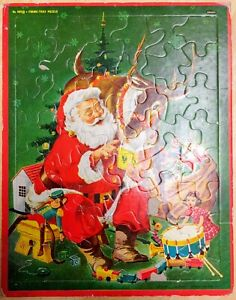 Whitman Santa Claus & Reindeer Frame Tray Puzzle 4424:29 Vintage 1950s Good Cond
