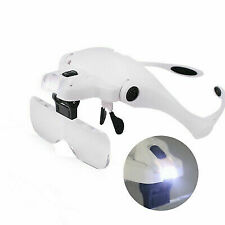 Magnifying Glass LED Light Head Loupe Jeweler Watch Bright Magnifier With 5 Lens