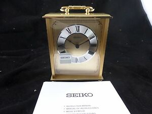 Seiko Desk And Table Carriage Clock Gold-Tone Solid Brass  New in Box