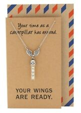Angel Wings Glass Vial Necklace Graduation Gifts for Her, Encouragement Card