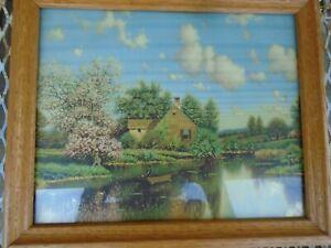 Vintage landscape Pictures Framed pond Ducks Cottage Alois Arneggar print lot 2