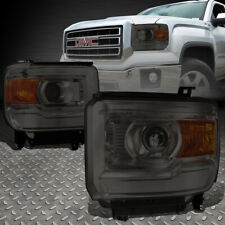 FOR 14-18 GMC SIERRA SMOKED HOUSING AMBER CORNER PROJECTOR HEADLIGHT HEAD LAMPS