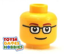 *NEW* LEGO Minifigure Minifig Head Man Boy Nerd Glasses Smile City Worker #314