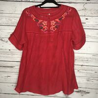 Umgee Womens Peasant Blouse Top Sz L Red Short Sleeve Floral Embroidery