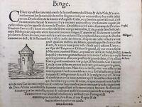 Maüseturm de Bingen 1575 Kreuznach Veldenz Rare Gravure sur Bois Münster Rhin