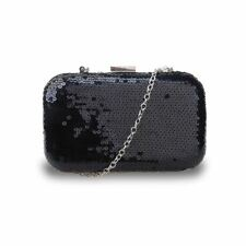 f3196d8c7381ae Sequin Women Evening Clutch Hardcase Boxy Bag Long Strap Prom Party Holyday  Lady Cdb001bk-black