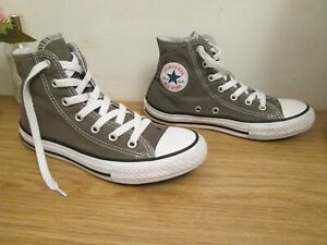 Kids Boys Girls CONVERSE Taupe Khaki Coloured Hi High Top Trainers Shoes Size 2