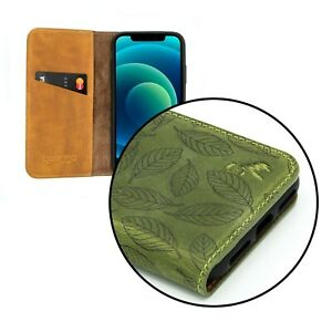 iPhone 12, iPhone 12 Pro, iPhone X   Luxury Leather Green Leaf Wallet Phone Case