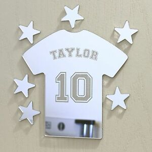 Football Tshirt Mirror Set Personalised Door Name Plaque Boy Girls Bed Room Sign