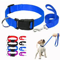 Nylon Dog Collar and Leash Durable Walking Lead Adjustable for Small Large Dogs