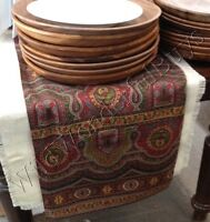 """Pottery Barn Emira Table Throw Red Gold 50"""" Square Paisley Tablecloth Christmas"""