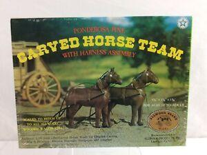 Vintage 1/16 Allwood Ponderosa Pine Carved Horse Team  & Harness Model #5020