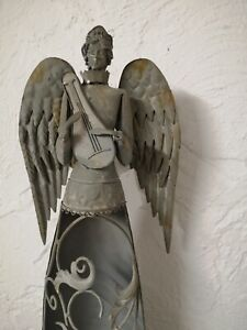 Candle Lantern Angel Decorative Figurine Metal Christmas Shabby 22 13/16in