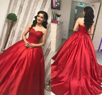 Red Lace Satin Quinceanera Dresses Sweetheart Strapless Prom Sweet 16 Ball Gown