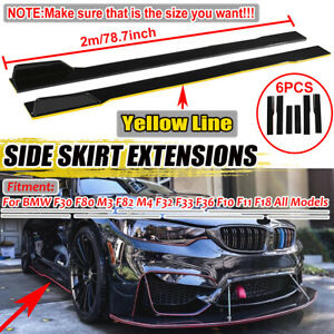 Pair Side Skirts Extensions Splitters Lip For BMW F30 F32 E90 F80 F82 F83 M3 M4