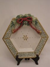 FITZ & FLOYD Winter Holiday Santa Christmas Canape Plate