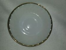 """12 Fire King Oven Ware Ivory White Glass Swirl Gold Feather 6"""" Tea/coffee Plates"""