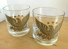 2 Vintage Anchor Hocking Gold American EAGLE & STAR Old Fashioned Rocks GLASSES