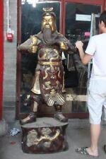 Chinese Bronze Copper Gilt Dragon Guan Gong Yu Warrior God Guangong Sword Statue
