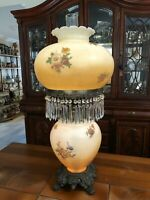 """Antique Huge Original Hurricane Gone with the Wind Lamp w/42 Prisms, 31"""" Tall"""