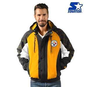 Pittsburgh Steelers Starter Heavy Hitter Full Snap Hooded Jacket - Black