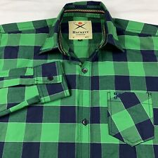 Hackett London Mens Large Slim Fit Button Up Long Sleeve Shirt Green Plaid EUC