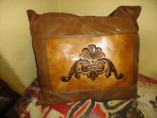 WESTERN FUR LEATHER BROWN GOLD EMBOSSED SUEDE (1PC) OBLONG THROW PILLOW 18 X 20