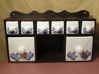 VINTAGE Handmade Wood spice cabinet with ceramic drawers.