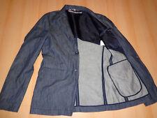 RP € 500 DIRK BIKKEMBERGS blue denim blazer jacket size I54 XL cotton & metallic