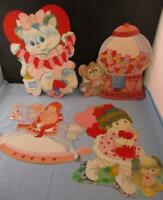 Vtg Valentine's Day Decorations Large Flocked Die Cut wall Decor Candy Machine