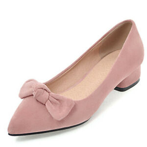 Women's Bow Knots Sexy Pointed Toe Block Low Heel Party Dress Work Pumps Shoes