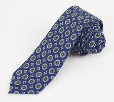 New BATTISTI NAPOLI Prussian Blue Floral Pattern 100% Wool Skinny Neck Tie $225