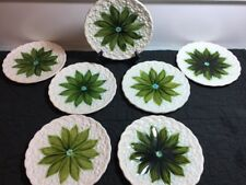 Vintage Schramberg Majolica German 7 Pc Set Pointsettia Lily of The Valley