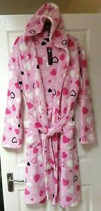 Selena Secrets Hooded Robe Dressing Gown Size 18/20 Pink Hearts