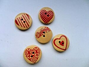 20 pcs Mixed RED HEART Wood Scrapbooking / Sewing Buttons 20mm