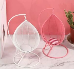 Doll House Accessories 1:12th Miniature - Basket Chair PINK