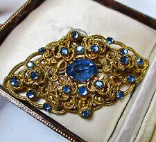 VINTAGE gioielli cechi Art Deco blu con strass filigrana Spilla/Pin