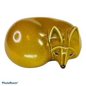 "LARGE ""FOX"" IN SERIES SKANSEN - LISA LARSON GUSTAVSBERG MIDCENTURY ART POTTERY 7"