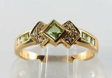 DIVINE  9CT GOLD PERIDOT & DIAMOND ART DECO INS RING FREE RESIZE